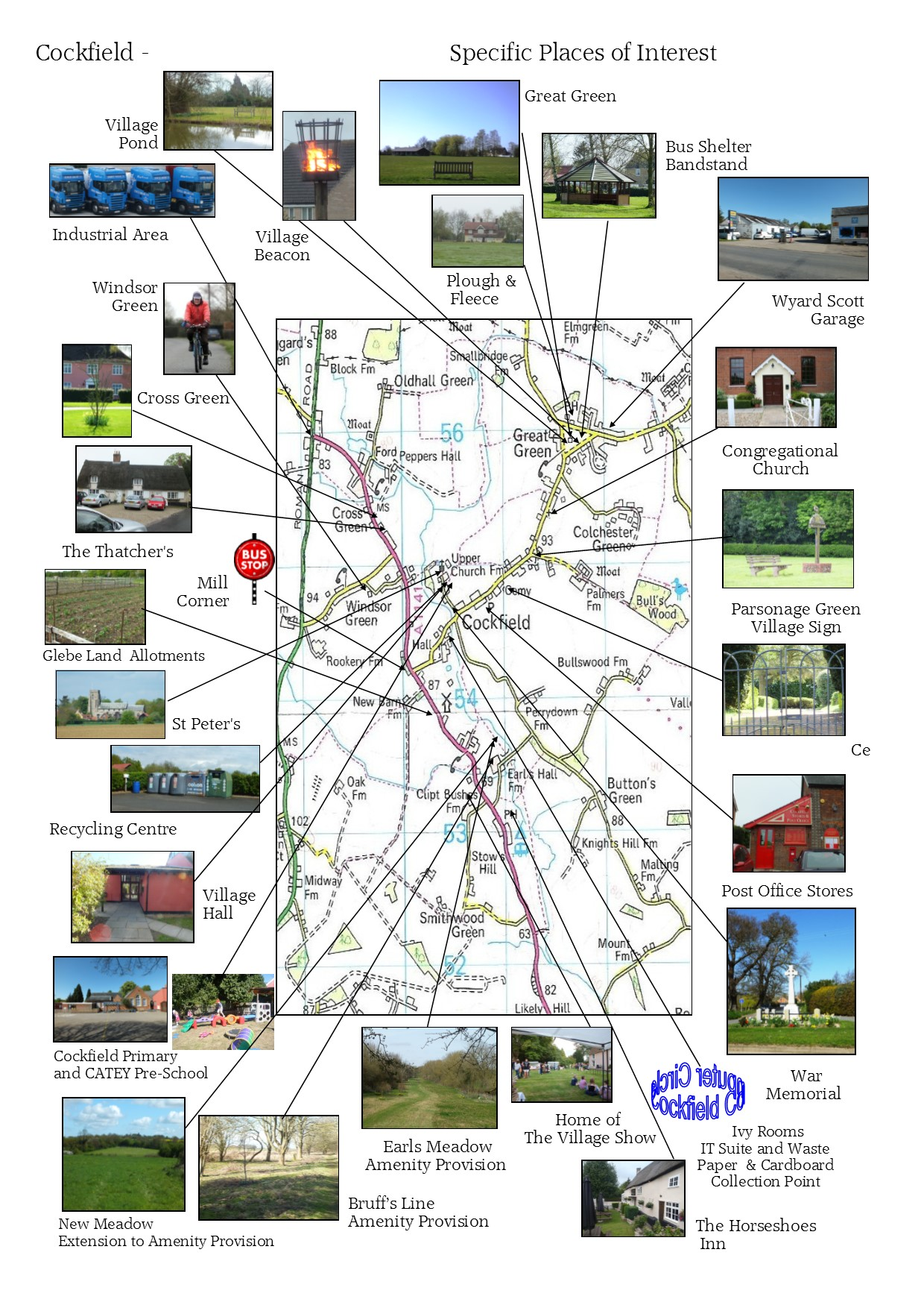 interest places cockfield map suffolk village south