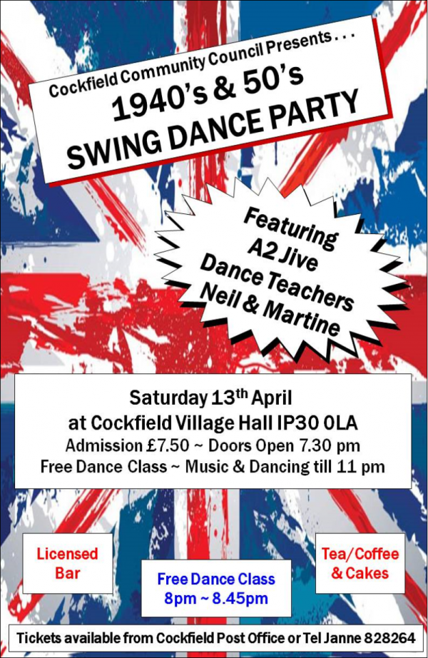 1940's & 50's Swing Dance Party @ Cockfield Village Hall