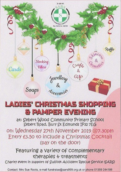 SARS Ladies' Christmas Shopping & Pamper Evening @ Sebert Wood Community Primary School