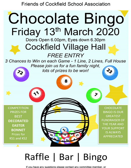 Chocolate Bingo - Friends of Cockfield School @ Cockfield Village Hall
