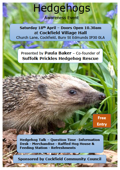 CANCELLED Hedgehogs Awareness @ Cockfield Village Hall